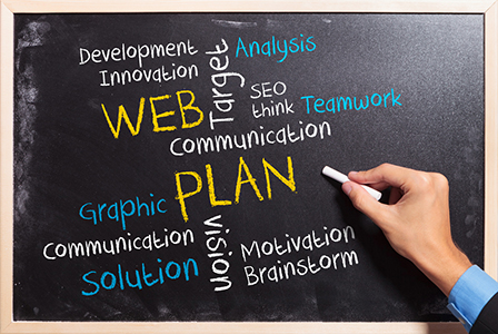 Blackboard with hand writing web plan strategy concept