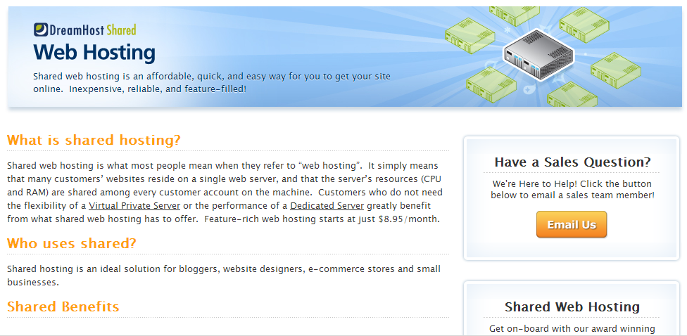 A screenshot of DreamHost's Web Hosting page